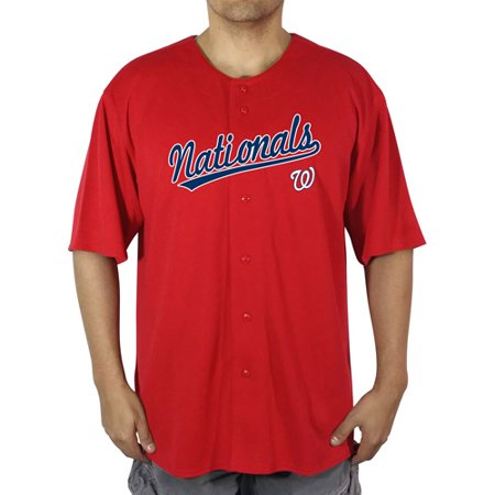 MLB Washington Nationals Big Mens Poly Button Down Jersey by
