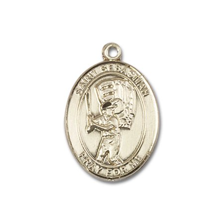 14kt Yellow Gold St. Sebastian / Baseball Medal 3/4 x 1/2 (Gold Medal Winning Baseball)