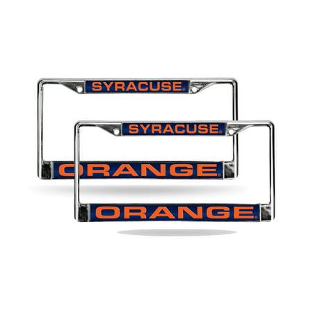 Syracuse Orange Chrome Metal (2) Laser Cut License Plate Frame Set