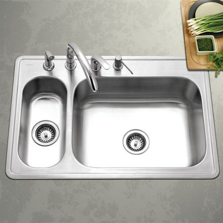 Double Bowl Corner Sink (Houzer Legend 33'' L x 15.75 - 22'' W Topmount Double Bowl 80/20 Kitchen Sink)