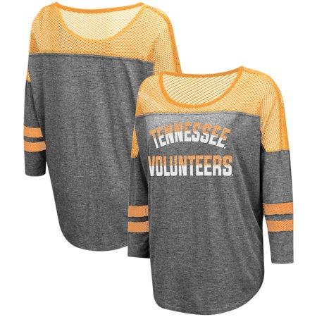 Yokes Charcoal - Tennessee Volunteers Colosseum Women's Fine! Oversized Mesh Yoke 3/4-Sleeve T-Shirt - Charcoal