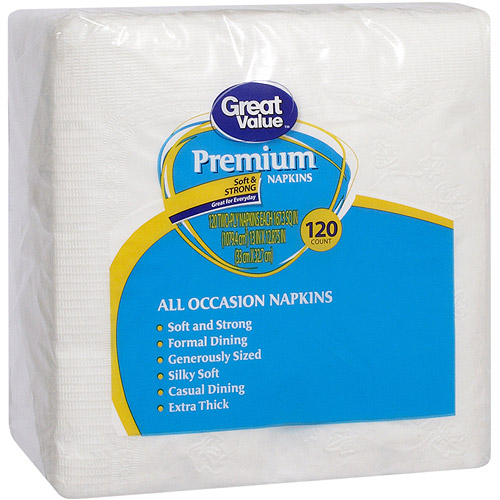 Great Value Premium Napkin, 120 ct