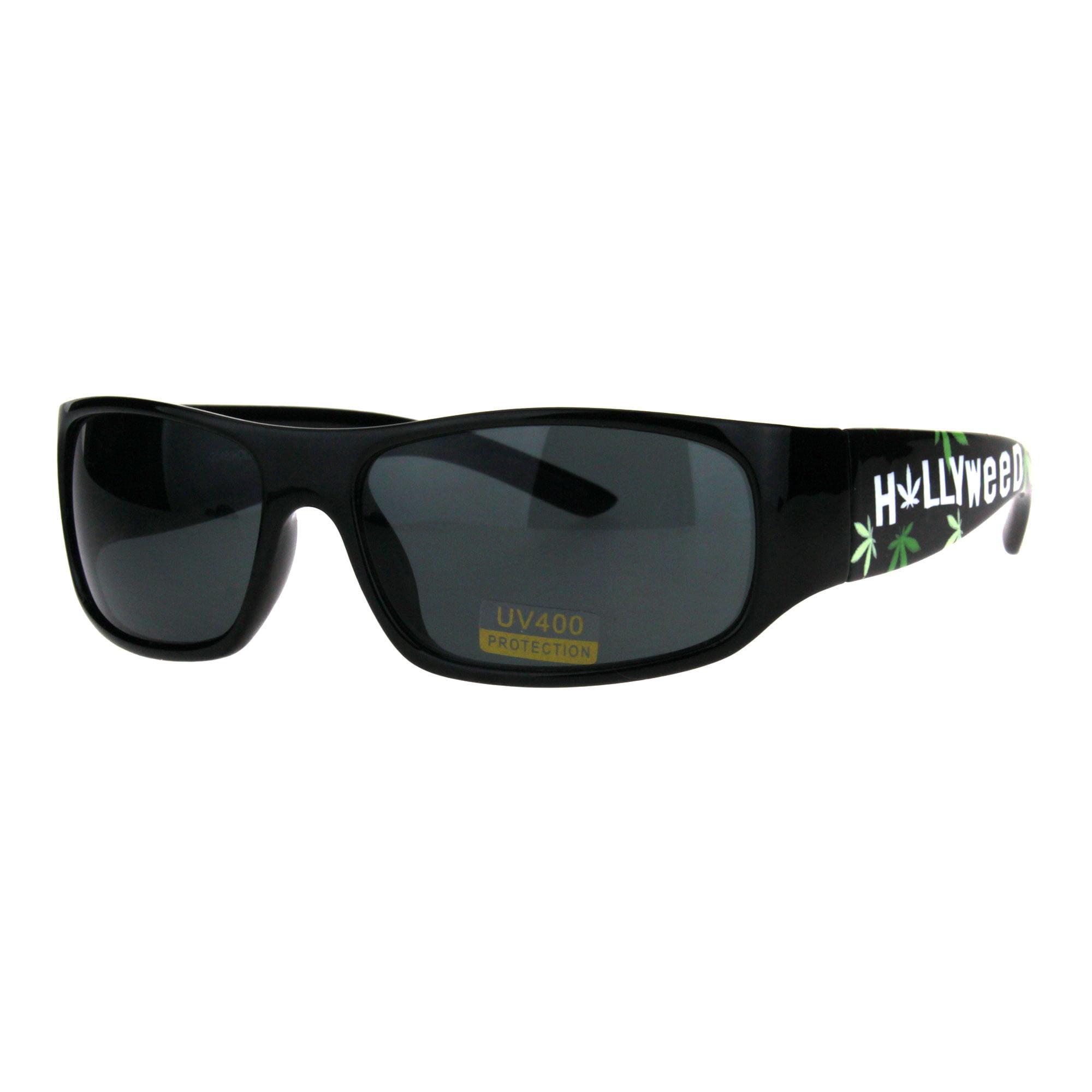 Pot Head Hollyweed Marijuana Weed Stoner Plastic Sunglasses Classic Rectangular Biker