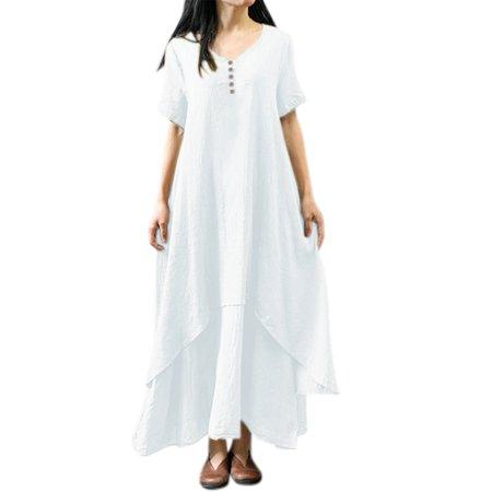 Women Short Sleeve Layered Vintage Plus Size Swing Maxi Dress