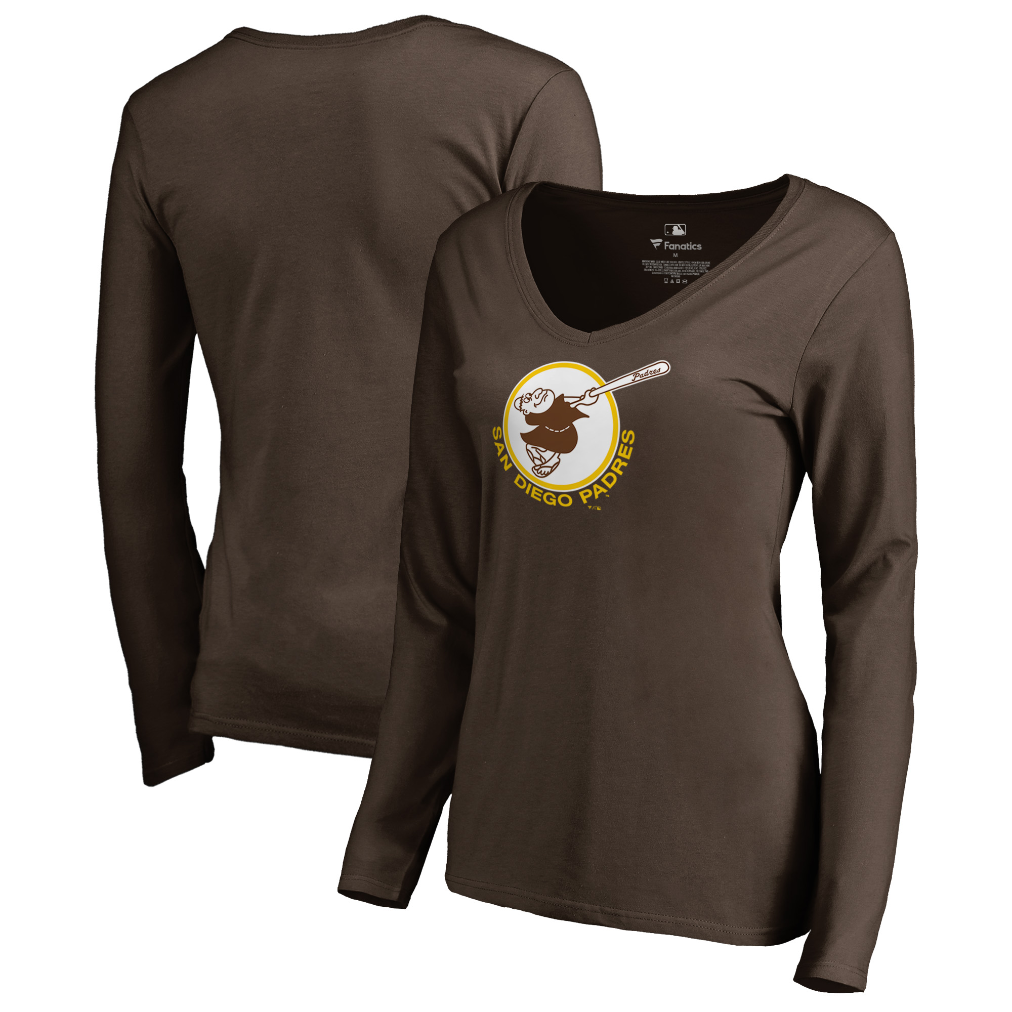 San Diego Padres Fanatics Branded Women's Cooperstown Collection Forbes Long Sleeve V-Neck T-Shirt - Brown