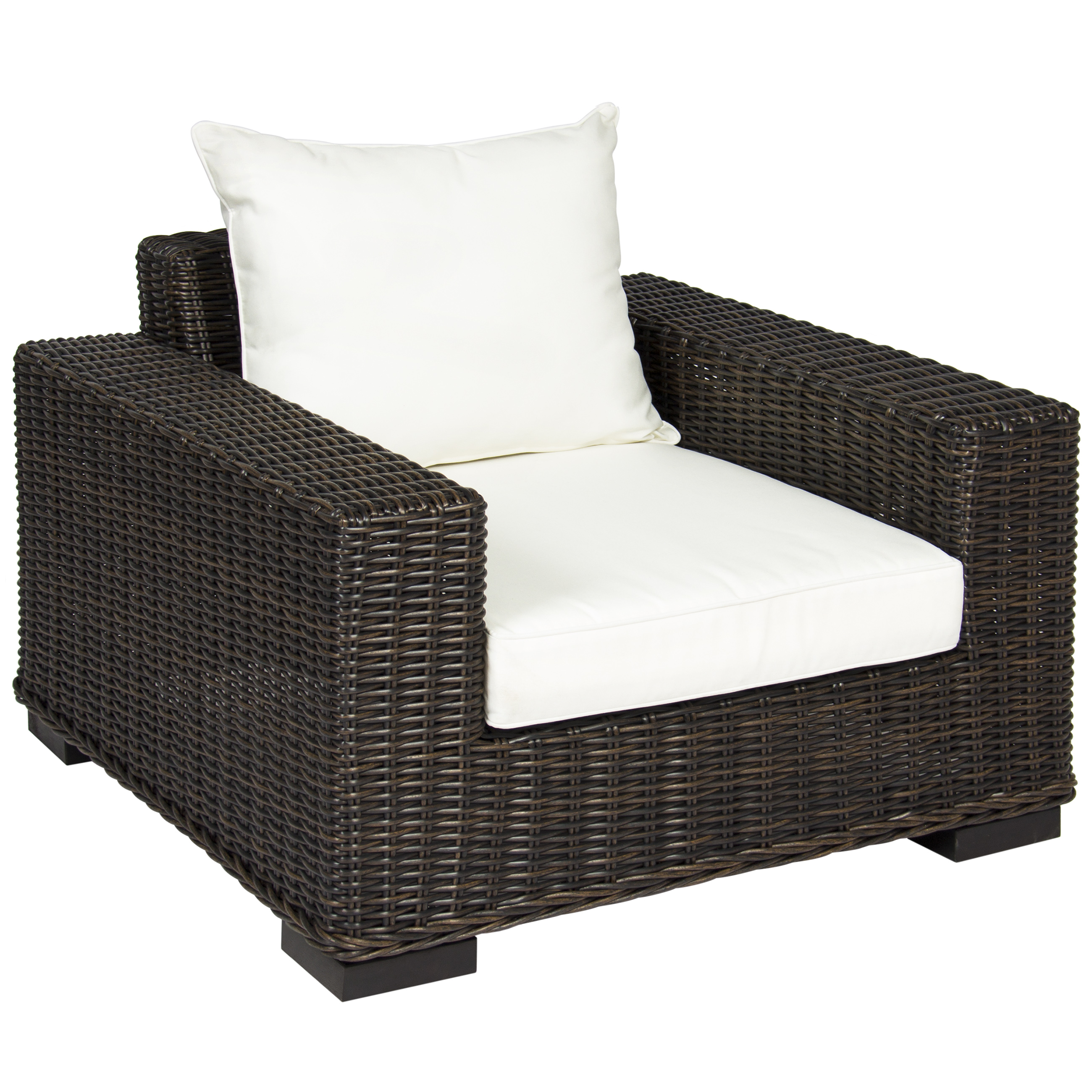 Beau Best Choice Products Oversized Outdoor Patio Wicker Club Arm Chair W/ White  Cushion   Brown