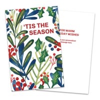 Personalized Holiday Flora Folded Holiday Greeting Card