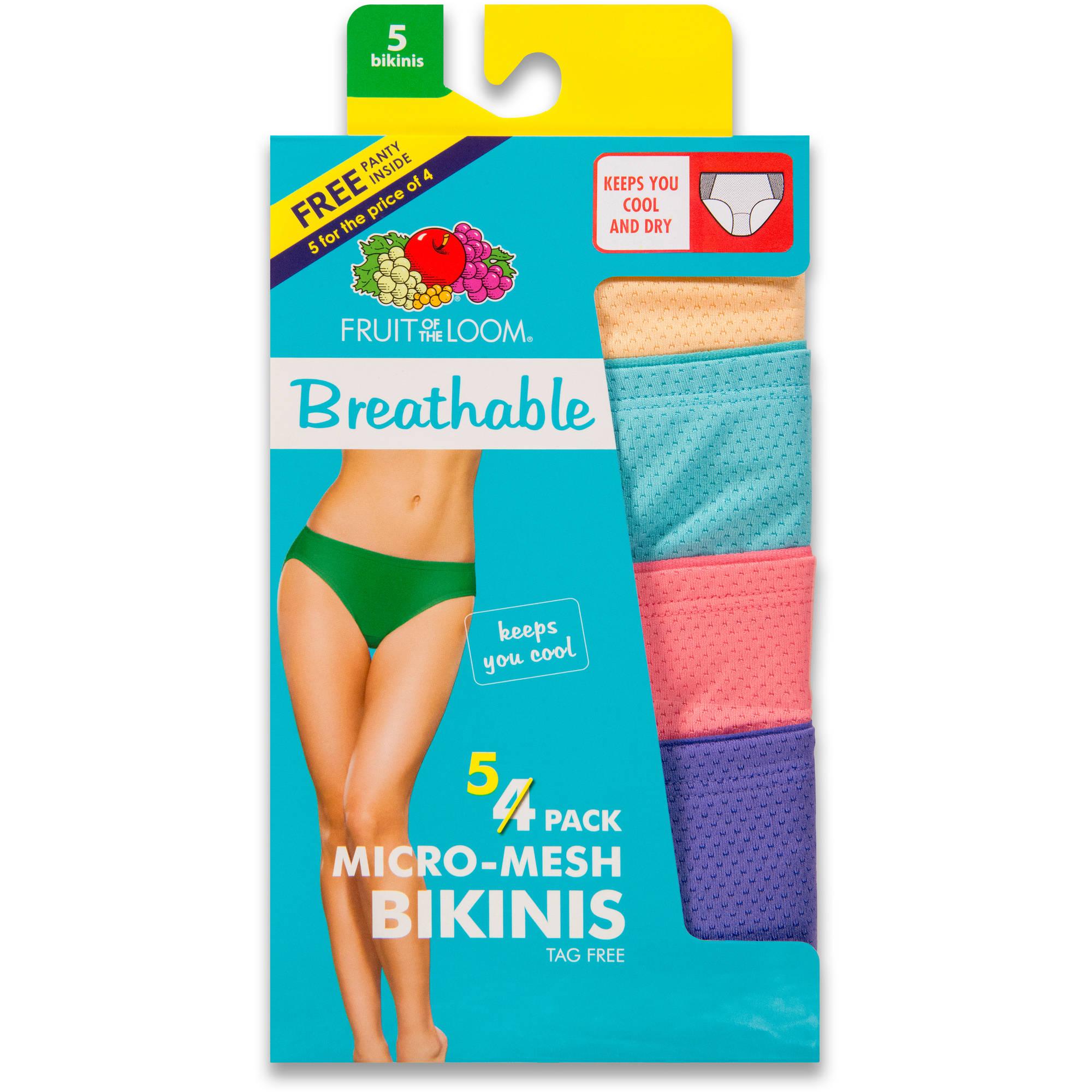 Fruit of the Loom Ladies' 4+1 bonus pack Breathable Bikini