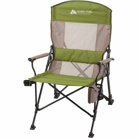 Ozark Trail Deluxe Oversize Hard Arm Chair with Reclining Back and Adjustable Legs, Green