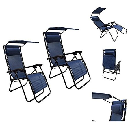 Magshion 1 Pair Folding Recliner Lounge Chair With Canopy Sunshade Zero Gravi