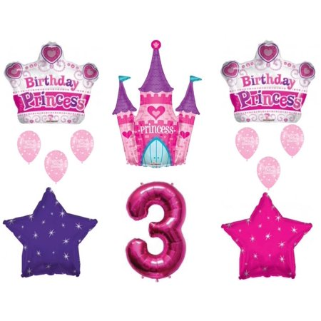 Princess Castle  3rd Birthday Party Balloons Decoration Supplies Third Crown
