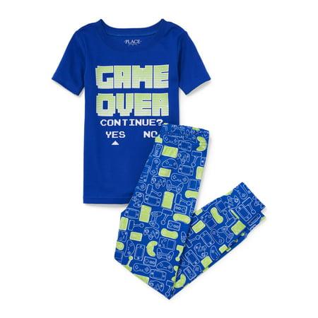 Boy' Short Sleeve 'Game Over' 2 Piece Pajama Sleep Set (Little Boy & Big - Boys Skeleton Pajamas