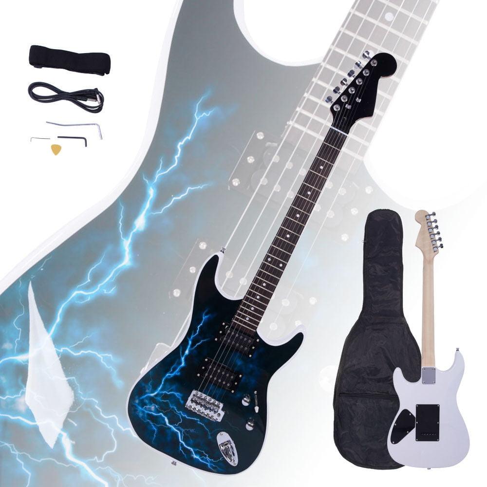 Ktaxon New Lightning Style White Electric Guitar +Strap+Cord+Gigbag+Picks