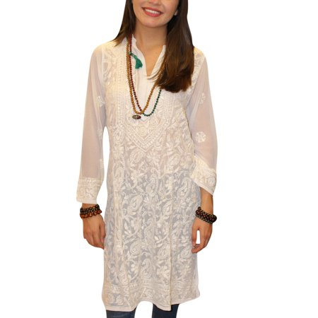 Mogul Women's White Long Tunic Dress Floral Embroidered Georgette Sheer Kurti Cover up M