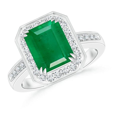 May Birthstone Ring - Emerald-Cut Emerald Engagement Ring with Diamond Halo in Platinum (9x7mm Emerald) - SR0683E-PT-AA-9x7-10.5