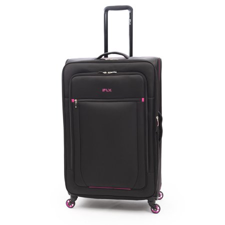"iFLY Softside Luggage Glamour 28"", Black/Pink"