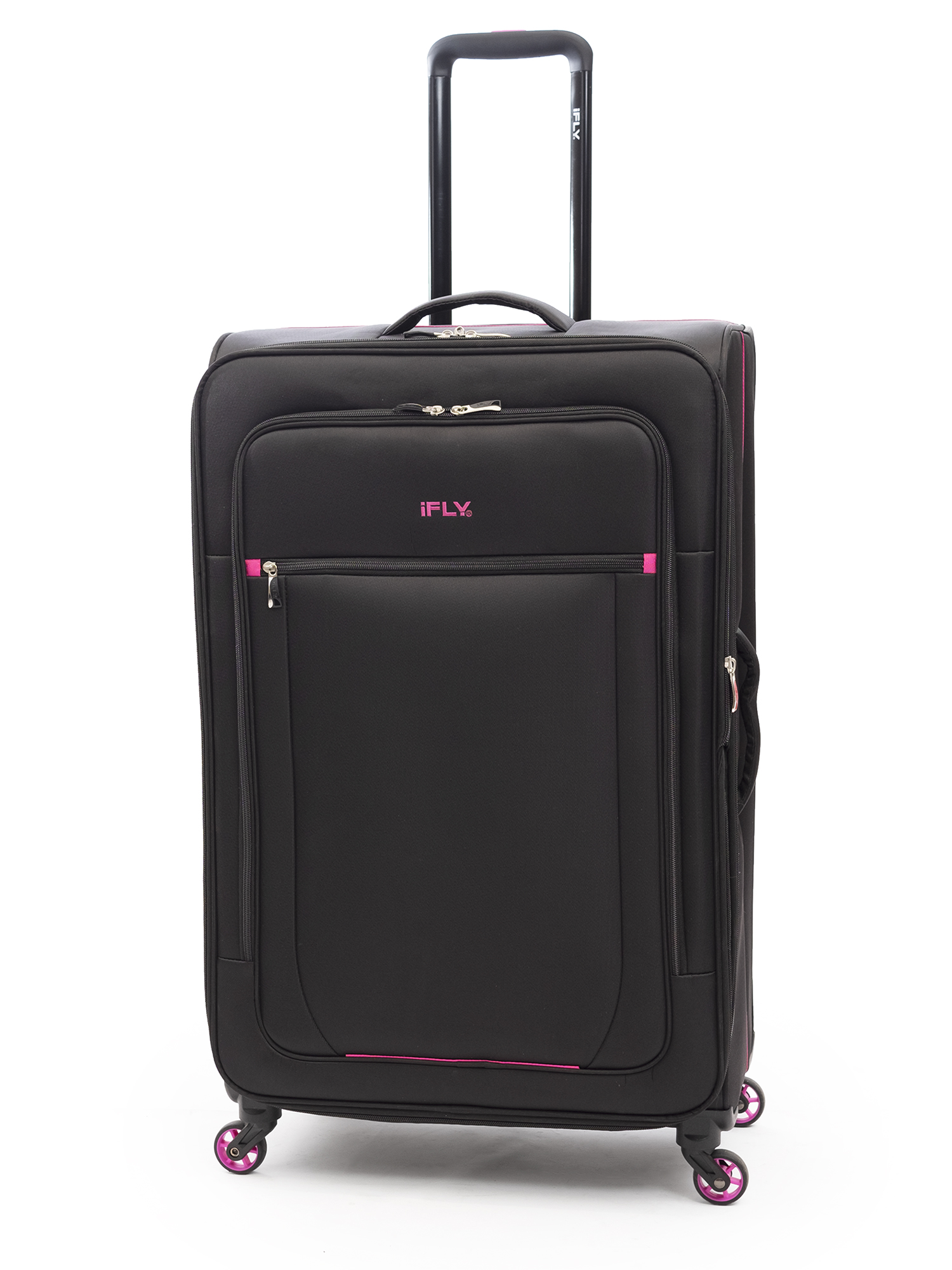 "iFLY Soft Sided Luggage Glamour 28"", Black/Pink"