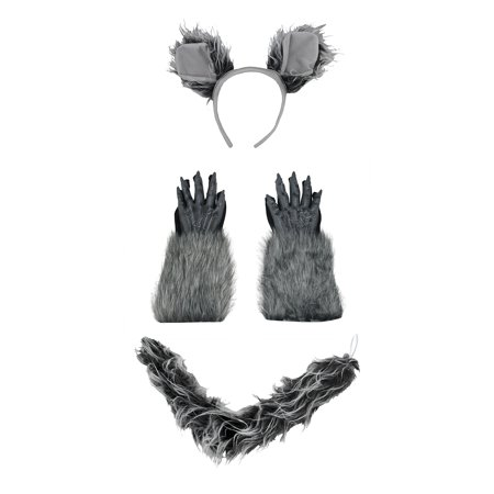Werewolf Wolfman Ears Tail Kit And Gloves Grey Costume Set Halloween Accessory - Werewolf Ears And Tail