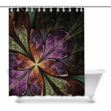 MKHERT Elegant Beautiful Fractal Flower in Beige Violet and Green Home Decor Waterproof Polyester Bathroom Shower Curtain Bath 60x72 inch Crystal Flower Bath Light