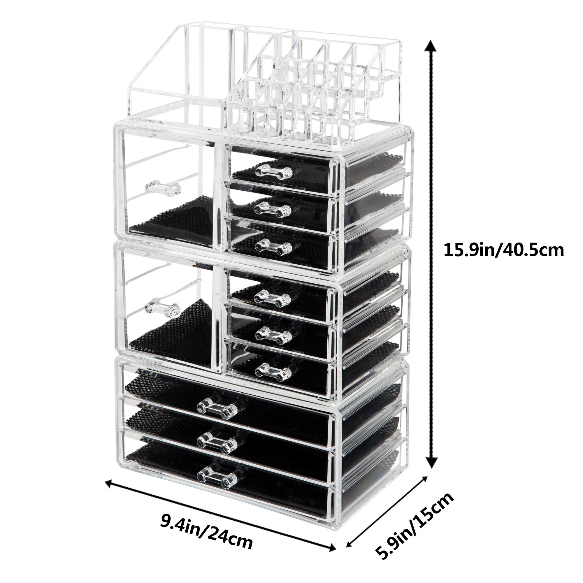 Zimtown 11 Drawers Clear Acrylic Tower Organizer Cosmetic Jewelry Luxury Storage Cabinet