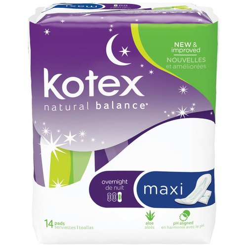 U by Kotex Security Maxi Overnight Pads, Regular, Unscented