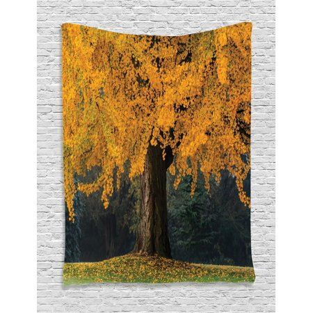 Tree Tapestry, An Old Tree with Leaves During Fall Evergreen Forest at the Back Seasonal Art, Wall Hanging for Bedroom Living Room Dorm Decor, Earth Yellow Brown, by