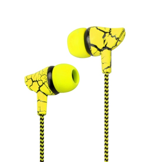 Yellow In-Ear Earbuds Earphone Braided Wire + Mic High Quality Sound Super Bass