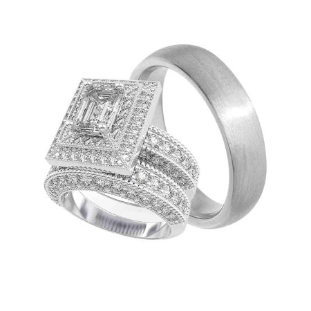 His Hers Wedding Rings Set Matching Bands For Him Her 6 13