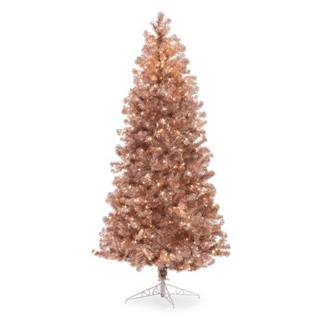 Fold Up Christmas Tree (Belham Living 7.5ft Pre-Lit Metallic Artificial Christmas Tree with Clear Lights - Rose)