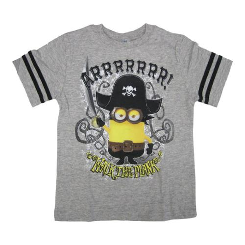 Minions Little Boys Grey Walk The Plank Character Print Crew Neck T-Shirt 4