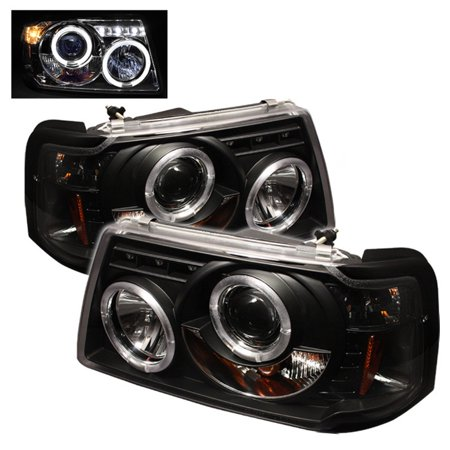 - Spyder Ford Ranger 01-11 1PC Projector Headlights - LED Halo - LED ( Replaceable LEDs ) - Black - High H1 (Included) - Low H1 (Included)