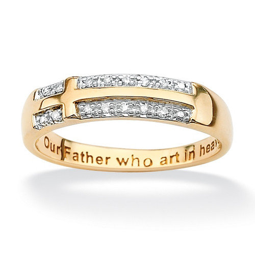 Palm Beach Jewelry Gold Round Diamond Accent Cross Ring
