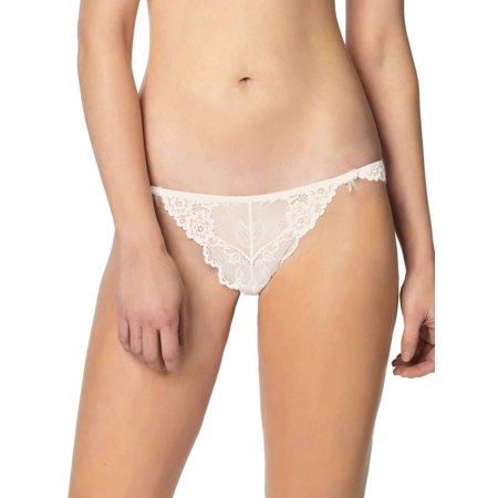 Jezebel by Felina | Caress Too Thong | Panty | Lace | Trim | Minimal Coverage (Champagne, X-Large) Jezebel Lace Panties