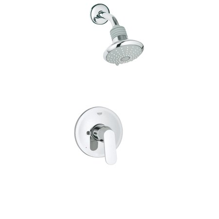 Grohe 35 020 000 Eurosmart Single Handle Pressure Balanced Shower Valve Trim only with Showerhead Starlight (Grohe Eurosmart Single Lever Bath Shower Mixer)