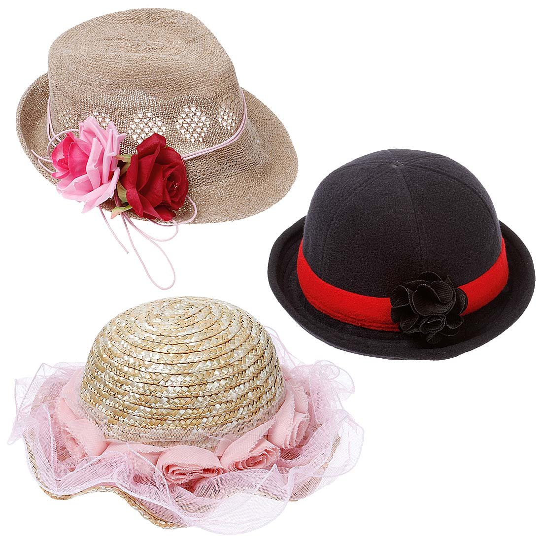 3 pc Baby Girl Toddler Cute Fashion Headwear Accessory Hats - Set 3: Country Cute