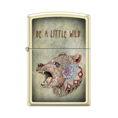 Zippo Custom Design Be A Little Wild Wildlife Bear Animal Windproof Collectible Lighter   Made In Usa Limited Edition   Rare