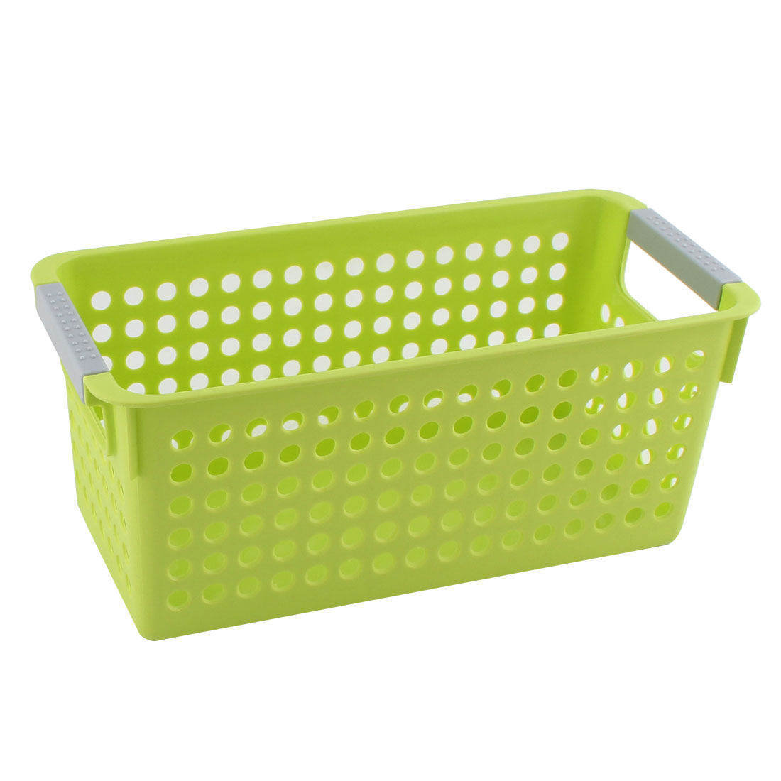 Unique Bargains Office Family Bathroom Plastic Rectangle Design Storage Basket Organizer Green