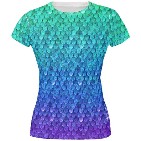 Halloween Mermaid Scales Costume All Over Juniors T Shirt - Ripped T Shirt Blood Halloween
