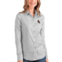 Wyoming Cowboys Antigua Women's Structure Button-Up Shirt - Gray/White