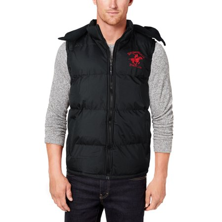 Beverly Hills Polo Club Men's Hooded Zip Athletic Sport Insulated Puffer Vest (S)