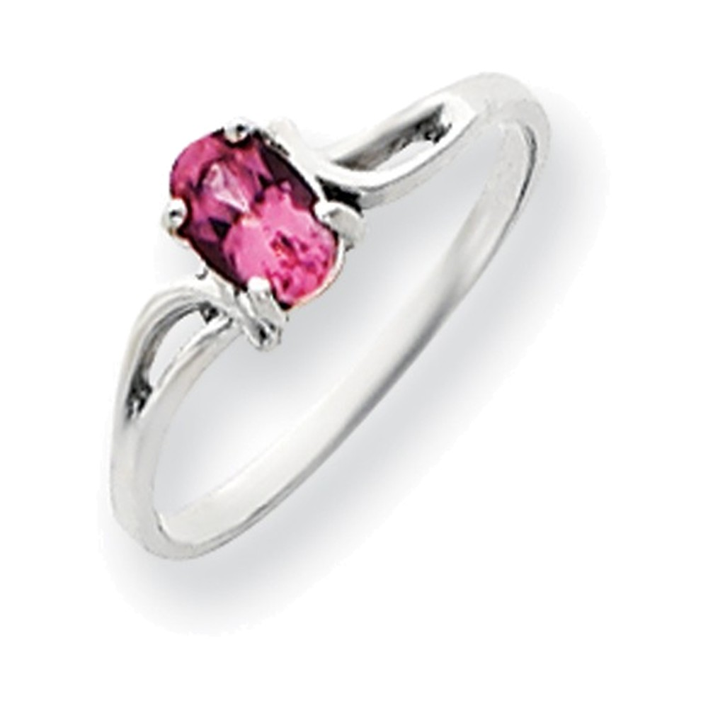 14k White Gold 6x4mm Oval Pink Tourmaline ring by
