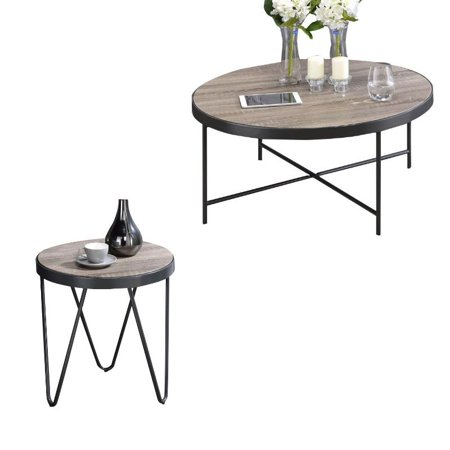 Enjoyable Bage 2 Piece Coffee Table And End Table Set In Weathered Gray Oak Walmart Canada Download Free Architecture Designs Scobabritishbridgeorg