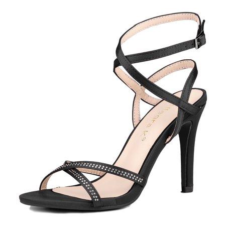 Unique Bargains Women's Rhinestone Stiletto Ankle Strap Sandals Black (Size