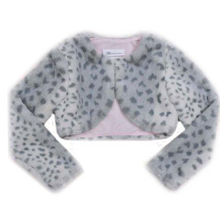 Big Girls Tween 7-16 Grey Leopard Animal Print Faux Fur Bolero Cardigan Shrug/Jacket, M [BNJ05882] (Holiday Print Scrub Jacket)