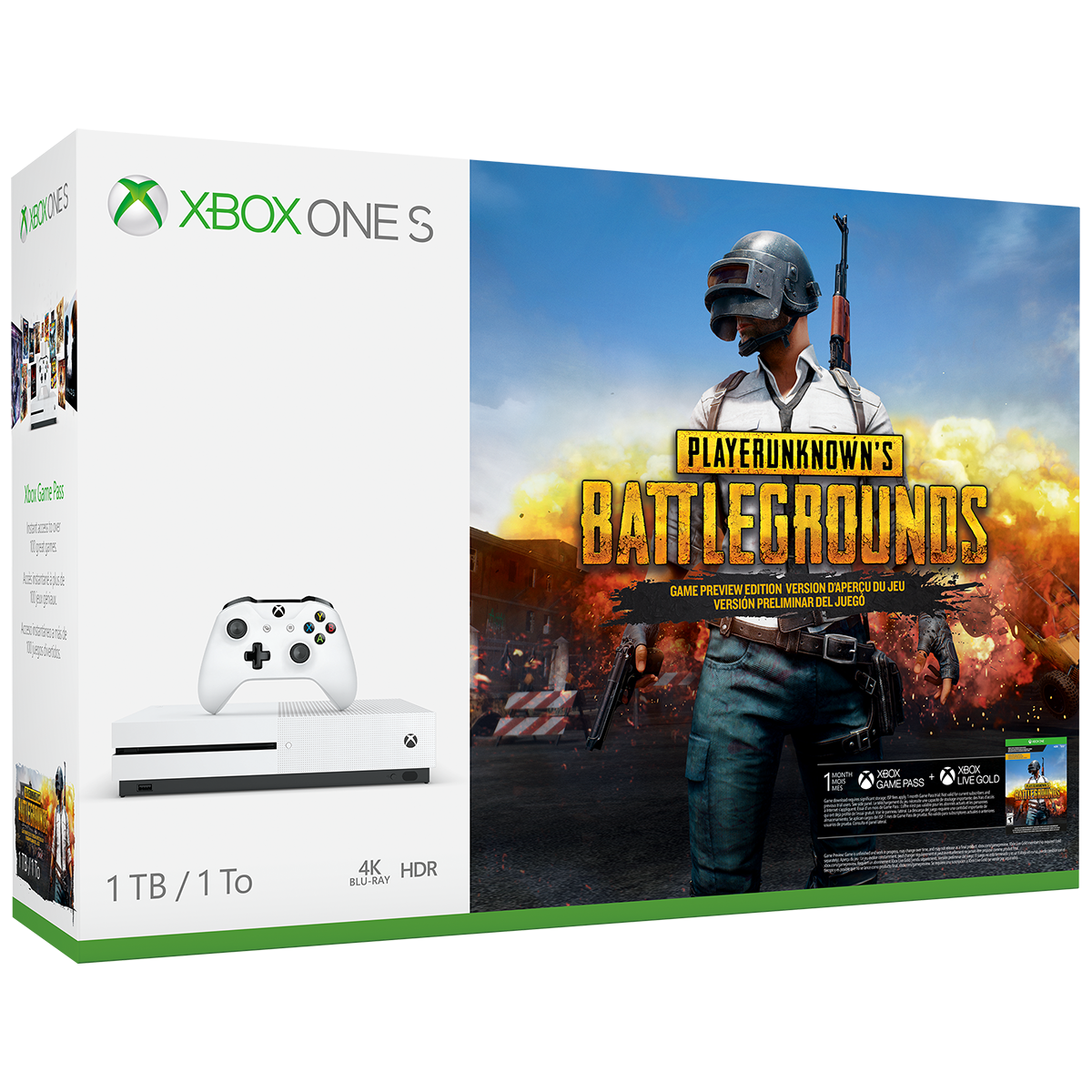 Microsoft Xbox One S 1TB PLAYERUNKNOWN'S BATTLEGROUNDS Bundle, White, 234-00301