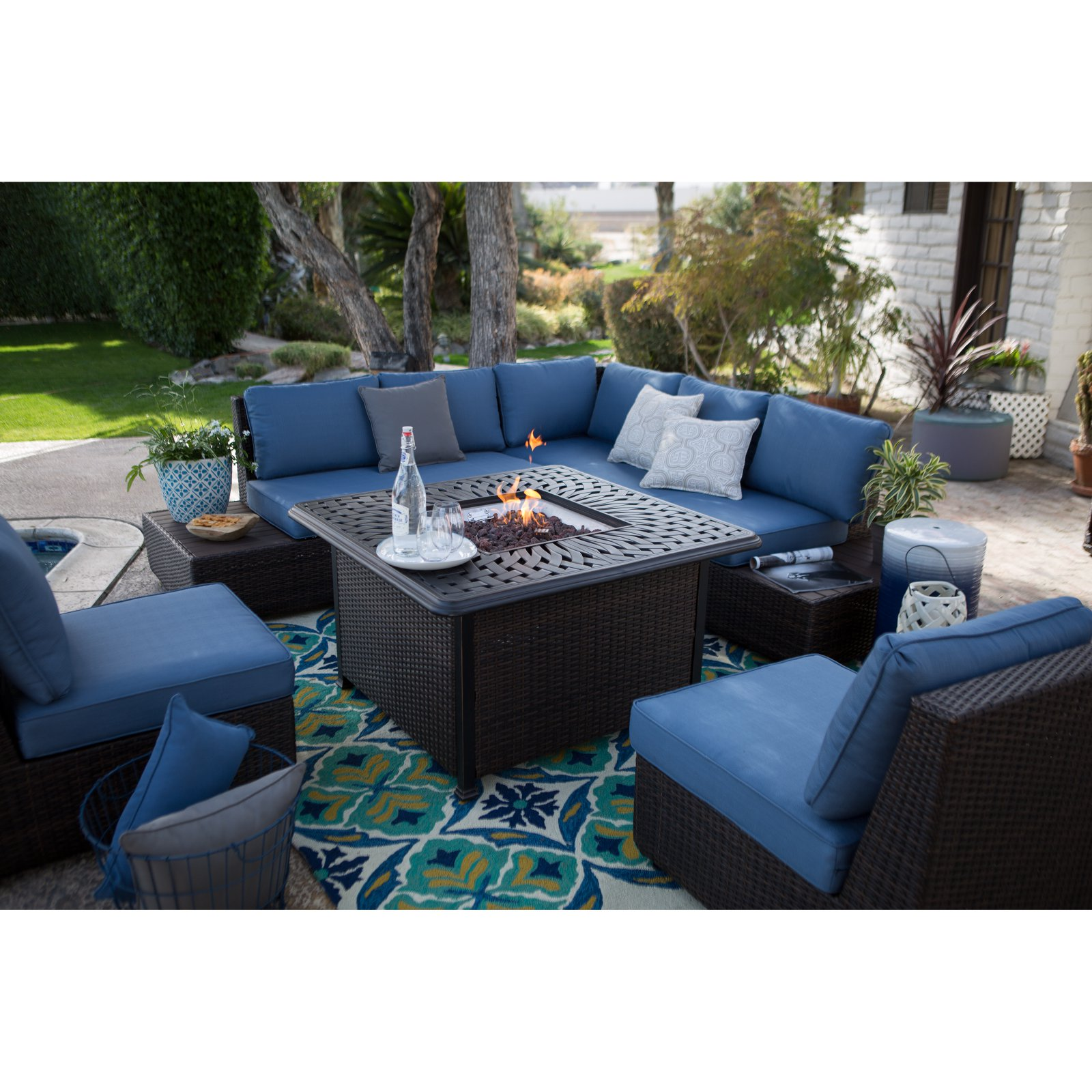 Belham Living Luciana Bay Wicker Sofa Sectional Set with Florentine Fire Pit