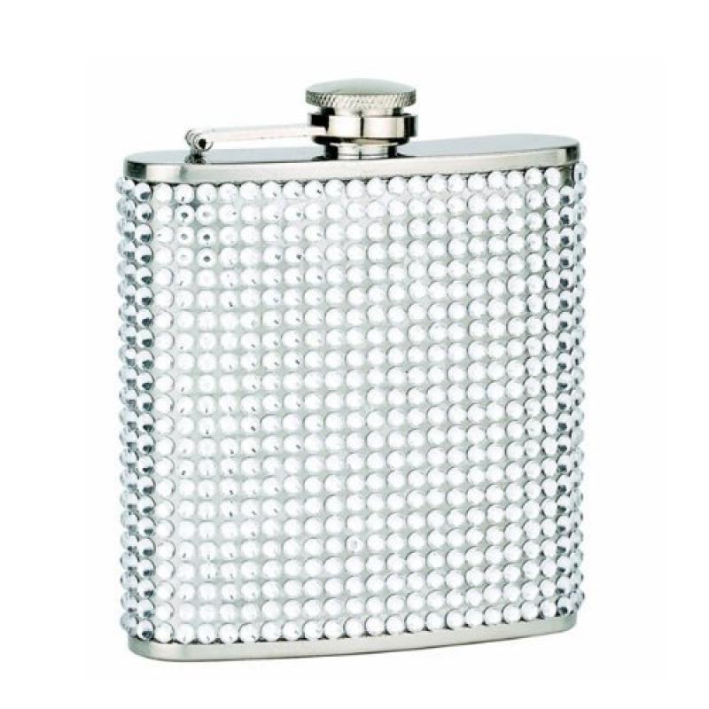 FJX Wholesale HFL-SD006 6oz Silver Diamond Bling Flask