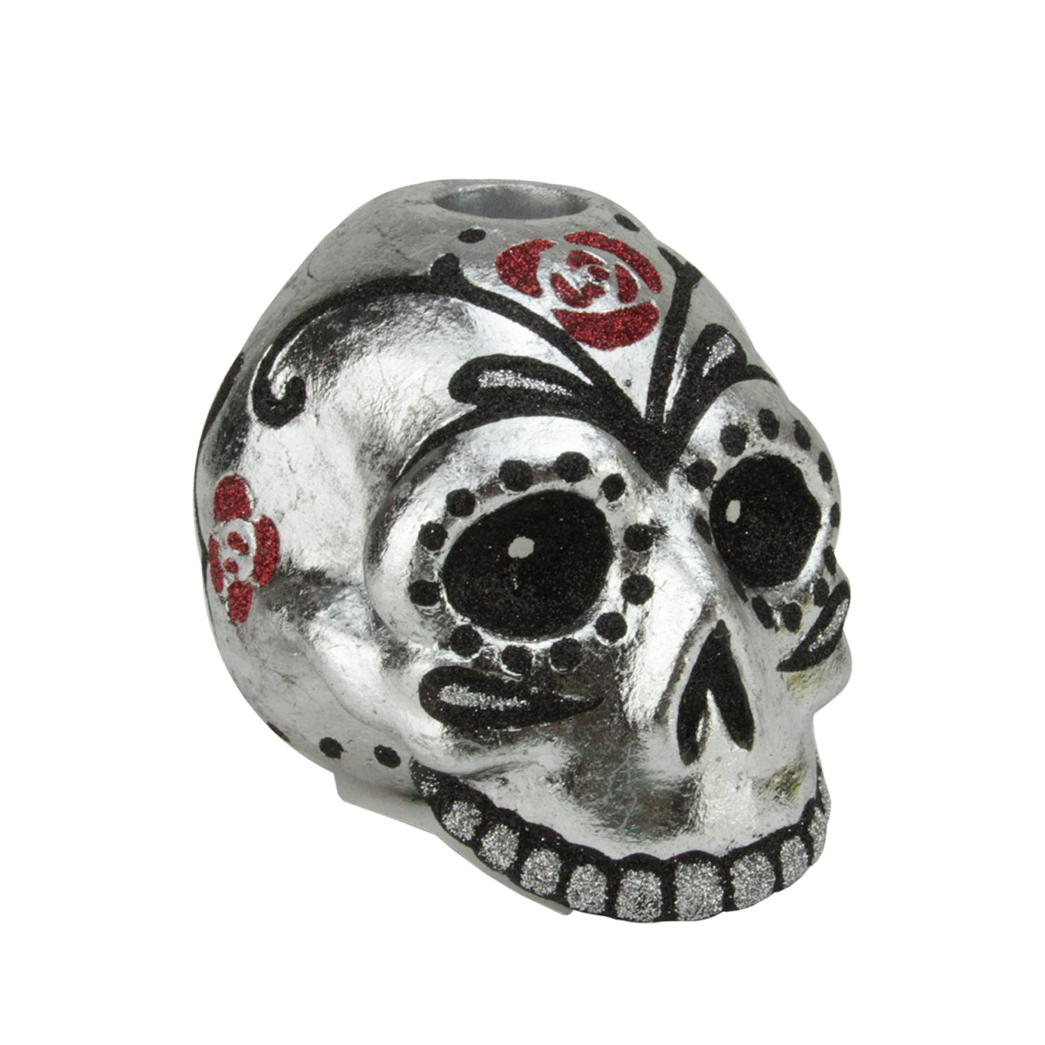 "4"" Silver Metallic Black and Red Glittered Skull Head Halloween Taper Candle Holder"