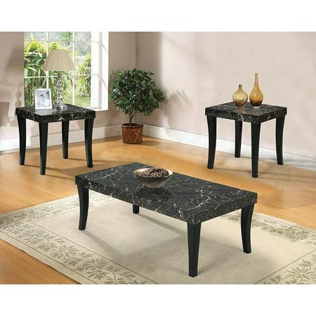 Gale 3pcs Black Faux Marble Top Coffee Table Set Walmart Com