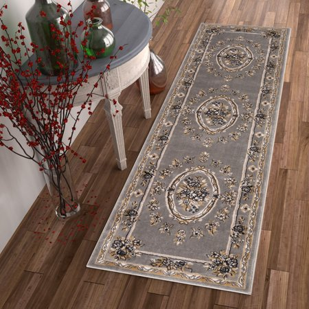 Pastoral Medallion Grey French Area Rug European Formal Traditional Area Rug 3' x 12' Runner Easy Clean Stain Fade Resistant Shed Free Classic Contemporary Thick Soft Plush Living Dining Room (European Classic 12 Light)